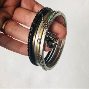 Lucky Brand Bangle Bracelet Set Metal Boho